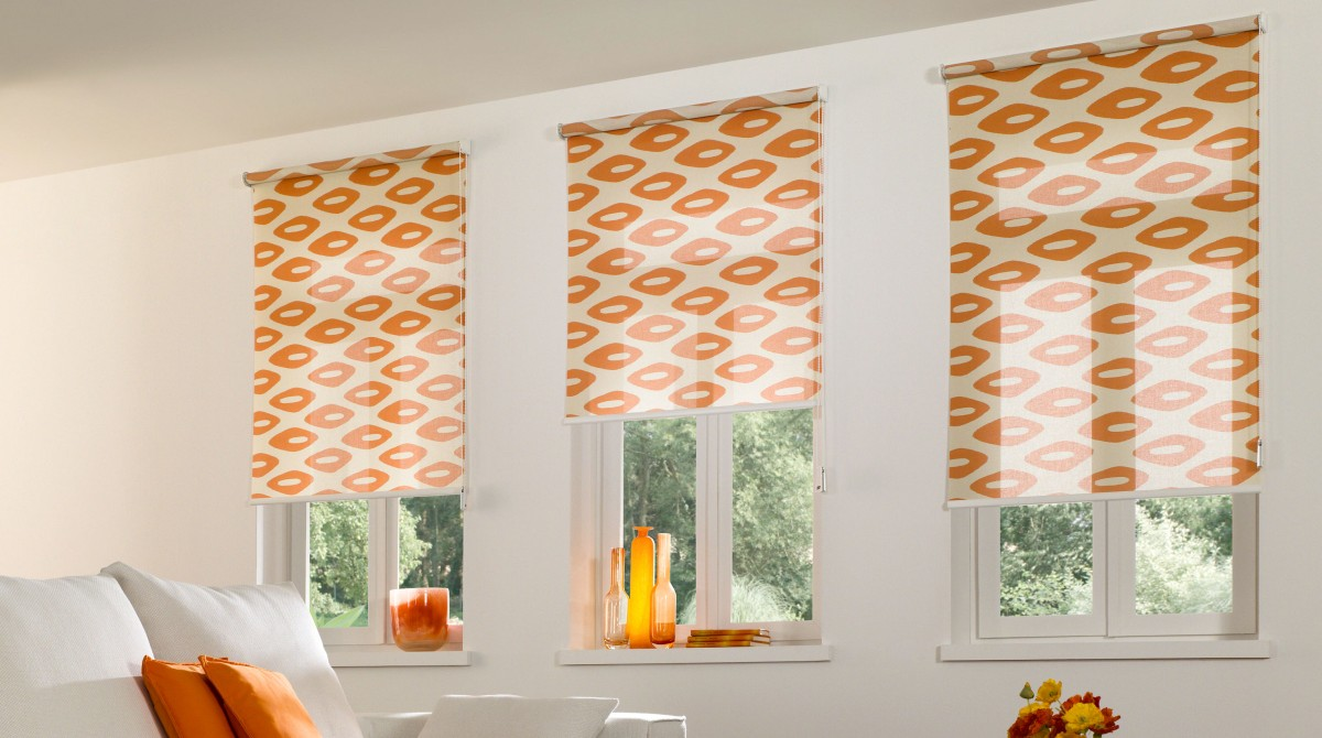 beautiful wei und orange teba rollos with duo rollo mit muster - Rollos Mit Muster
